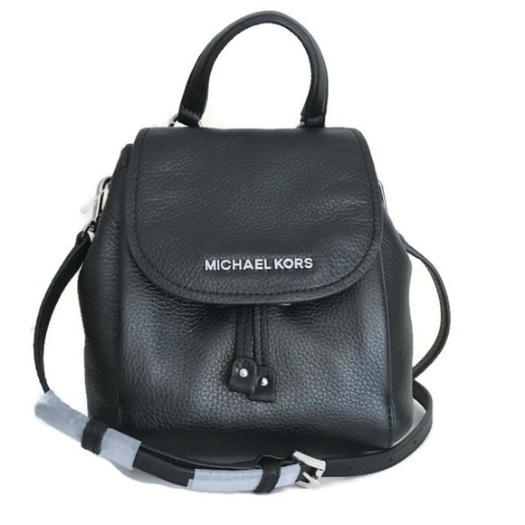 2867fbf6c46e Michael Kors Riley Small Flap Pack ~ Black Leather
